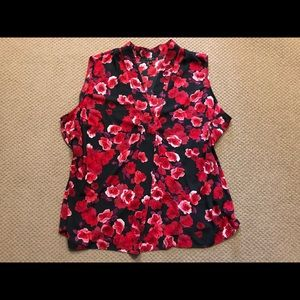 Talbots Red Floral Top Size 3X